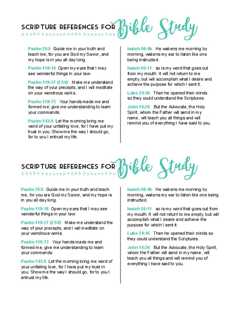 Scripture References To Aid Bible Study Free Printable